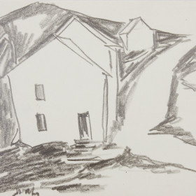 figurative graphic art Drawing Houses 40s 50s x13