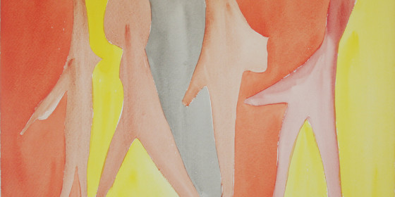 Watercolor four ghosts 1962 X36