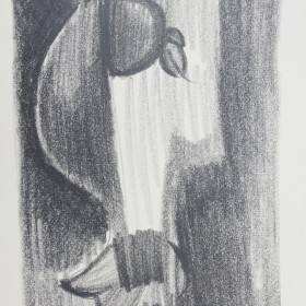 figurative graphic art Drawing carbon bird 1966 x54