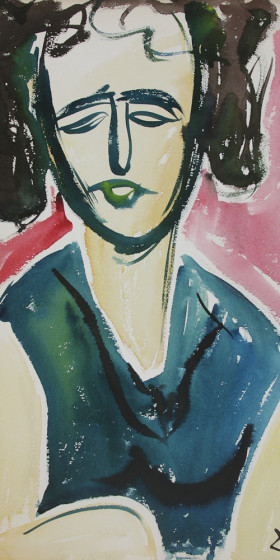 Woman Watercolor 1969 x41