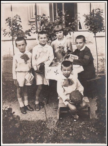 Tica, first from left, about first grade.
