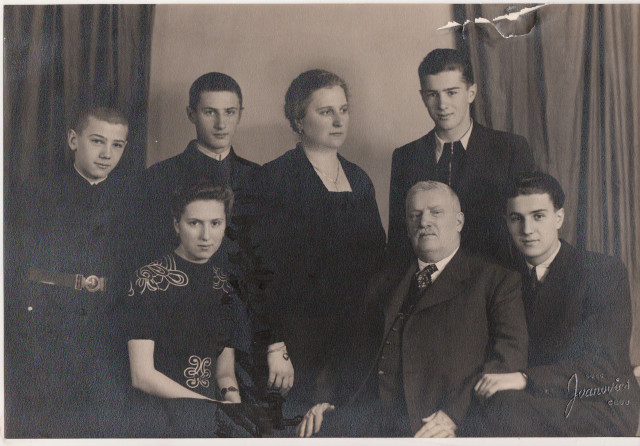 The Vonicas around 1940. From left to right, rear: little brother Cornel, Tica, mother Ana, elder brother Vasile; front row: sister Marioara, father Dumitru, eldest brother Ionel.